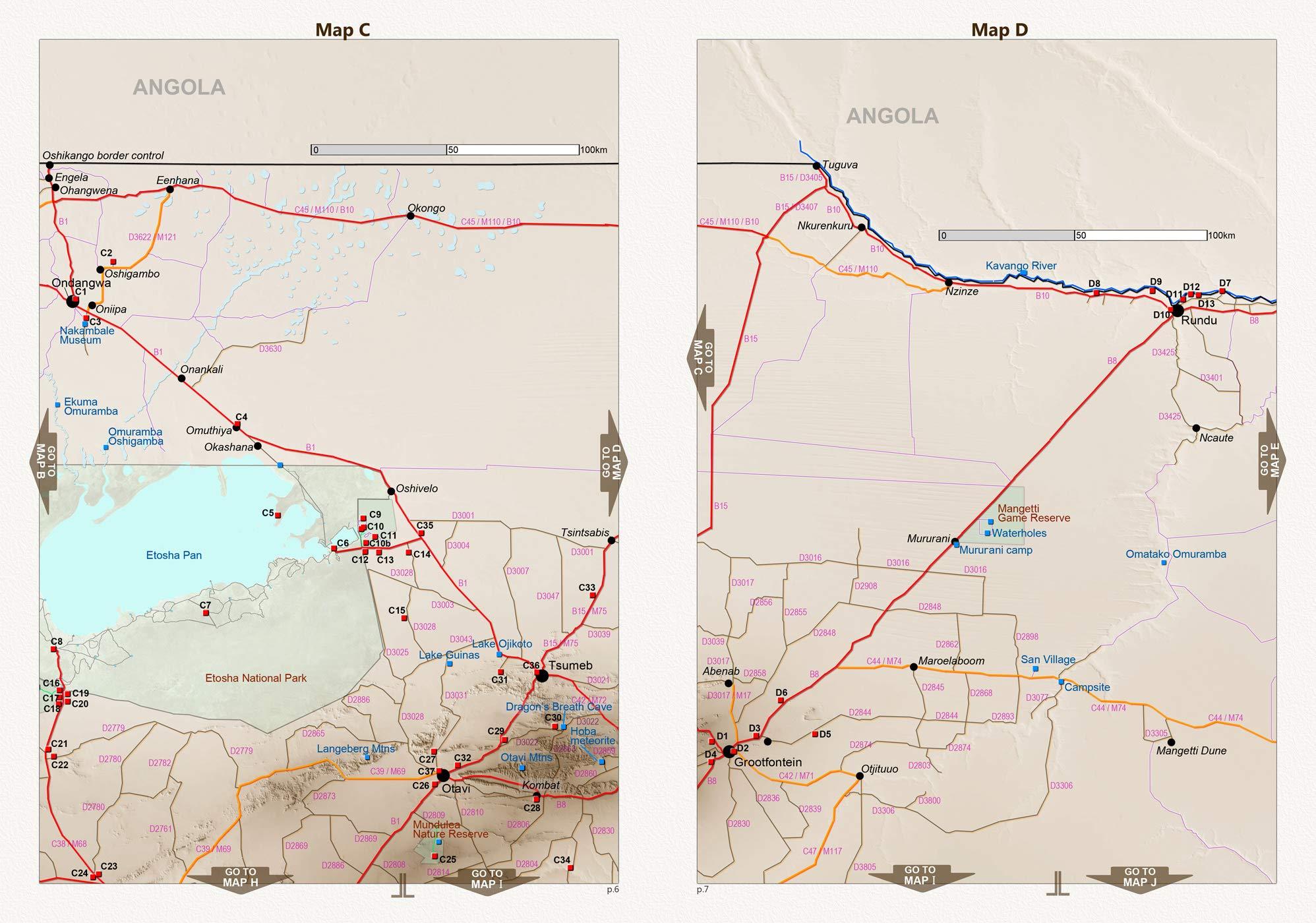 El set de mapas completo NAMIBIA: Mapa de carreteras NAMIBIA ROAD MAP + MAPA ETOSHA con galería de fotos de animales salvajes + MAPA DESERTICO NAMIB con fotos , ideal para la