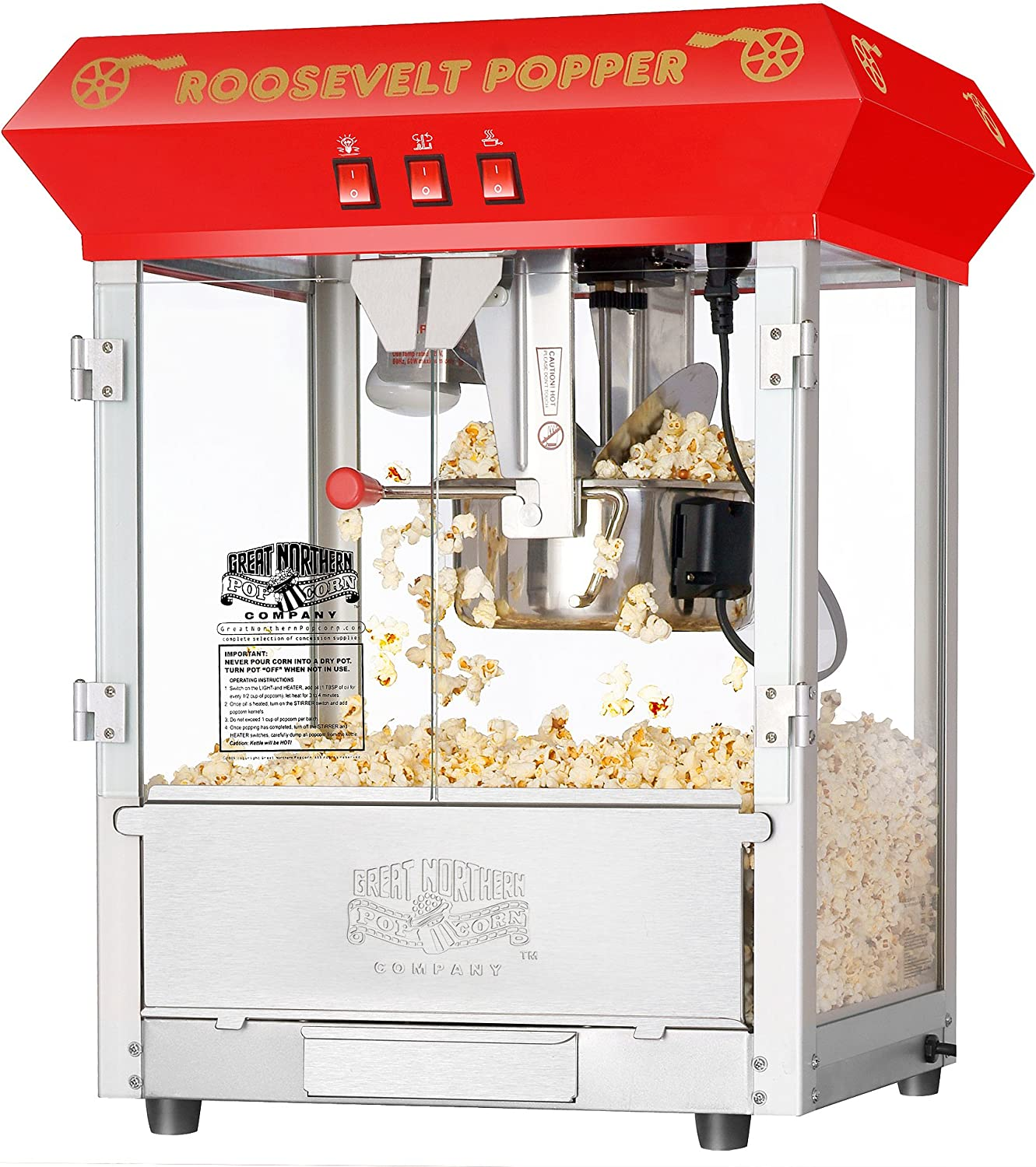 6010 Great Northern Red 8oz Roosevelt Antique Countertop Style Popcorn Popper Machine 2