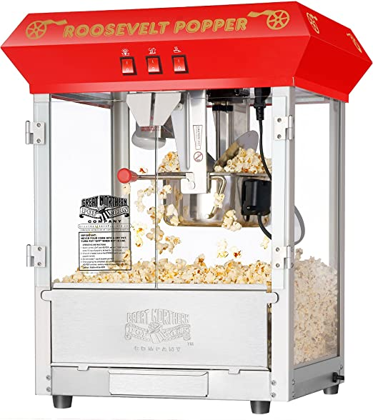 Amazon Com 6010 Great Northern Red 8oz Roosevelt Antique Countertop Style Popcorn Popper Machine Electric Popcorn Poppers Kitchen Dining