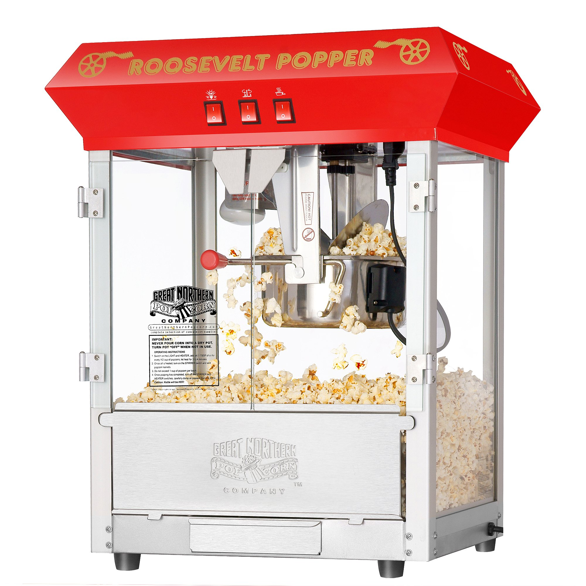 6010 Great Northern Red 8oz Roosevelt Antique Countertop Style Popcorn Popper Machine by Great Northern Popcorn Company