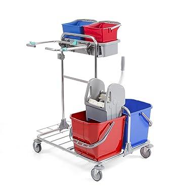 TTS 00002020 Tecno 20 Carrito para la limpieza cromado, dos cubos de 25 litros y