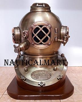 """Scuba 18 """"buceo casco antiguo Estados Unidos azul marino Vintage buceadores casco Mark V"""