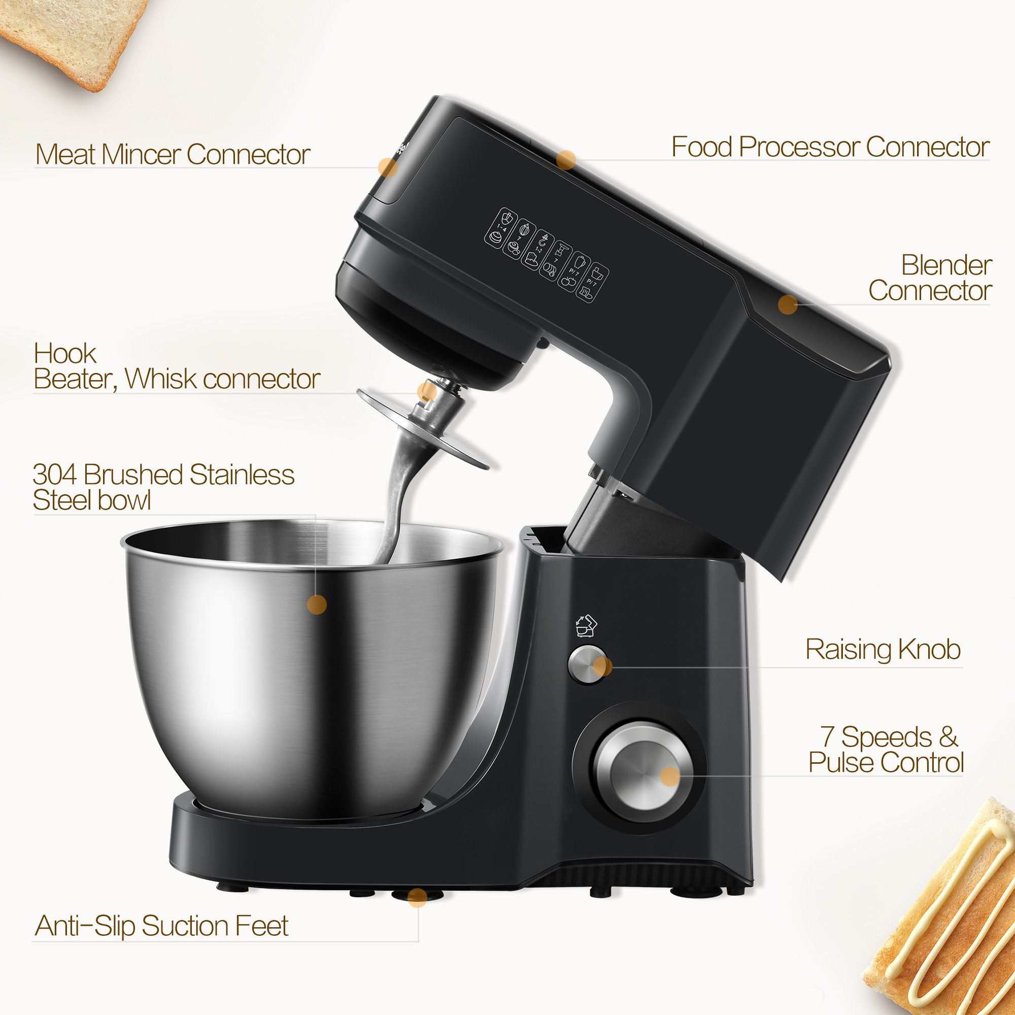 Comfee 4.75Qt 7-in-1 Multi Functions Tilt-Head ABS housing Stand Mixer with SUS Mixing Bowl. 4 Outlets with 7 Speeds & Pulse Control and 15 Minutes Timer Planetary Mixer ¡ by COMFEE' (Image #4)