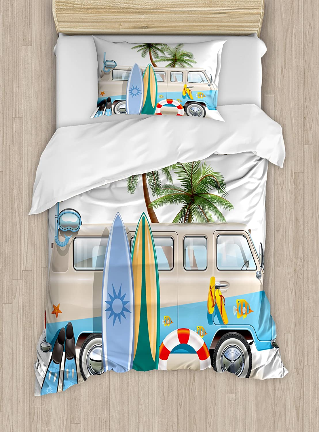 Ambesonne Surf Duvet Cover Set Twin Size, Surfing Weekend Concept with Diving Elements Fins Snorkeling and Van Trip Relax Peace, Decorative 2 Piece Bedding Set with 1 Pillow Sham, Multicolor