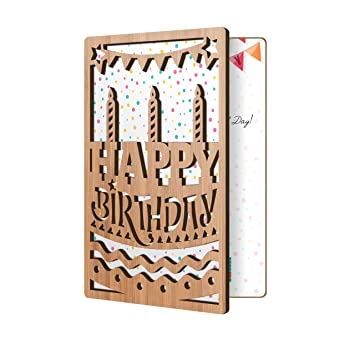 Happy Birthday Card Bamboo Wood Greeting With B Day Cake Candles Design