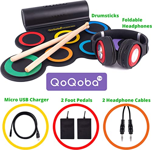 QoQoba Electronic Drum Set for Kids | Adult Beginner Pro MIDI Drum Practice Pad Kit Incl. Foldable Headphone | Drum Sticks | Great Holiday Birthday Gift for...