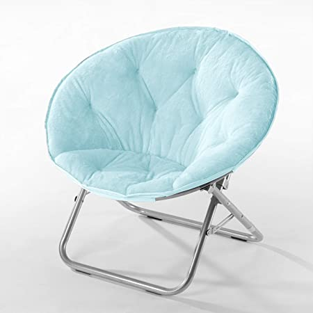 Urban Shop Faux Fur Saucer Chair with Grey Vase Adult, Aqua Wind