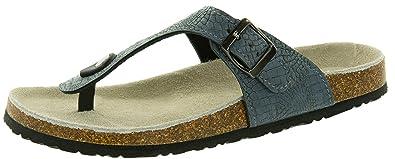 Beppi Damen Pantoletten Hausschuhe Zehentrenner mit BioComfort-Fußbett, Größe: 36