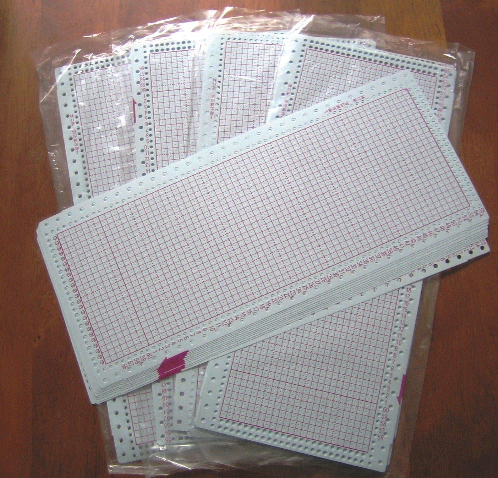 50 Blank PUNCHCARD 24 Stitch Machine Knitting Brother/SilverReed/Studio/Singer