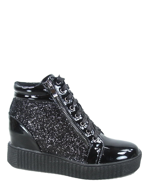 Forever Link Regan-14 Women's Fashion Glitter Lace up Platform Wedge Sneaker Shoes B07C71X9T3 6 B(M) US Black