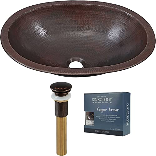 Sinkology SB202-19AG-AMZ-TP Wallace 19 in Undermount or Drop Kit with Pop Up Drain Armor Bathroom Sink, 19 x 14 x 5.5, Aged Copper