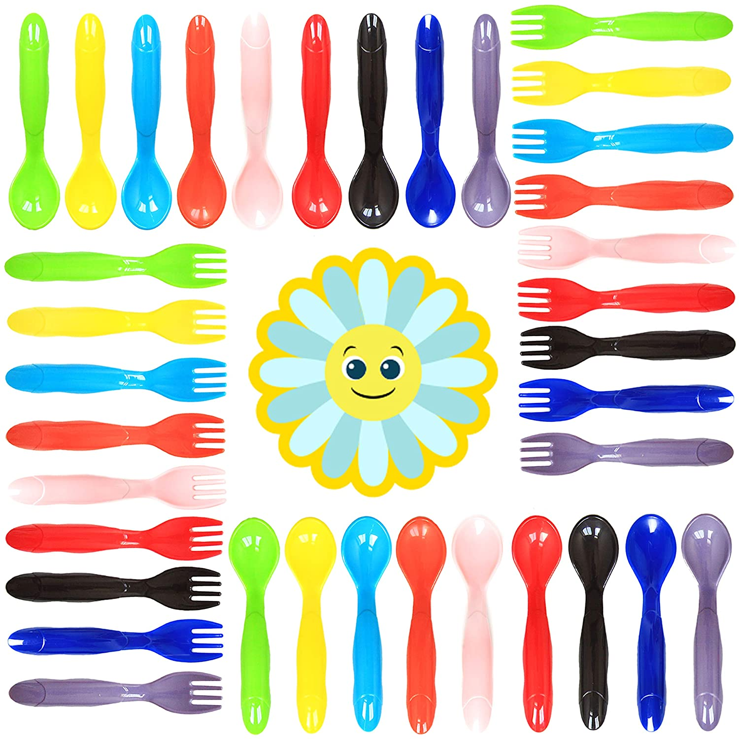 Youngever 18 Pcs Plastic Toddler Utensils, Set of 9 in 9 Assorted Colors, Plastic Kids Forks Kids Spoons, Dishwasher Safe, Toddler Silverware, Kids Plastic Cutlery Set, 9 Assorted Colors