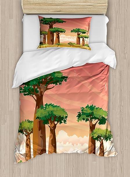 Lunarable Africa Twin Size Duvet Cover Set, Grunge Idyllic Nature Of  Madagascar Baobab Trees With