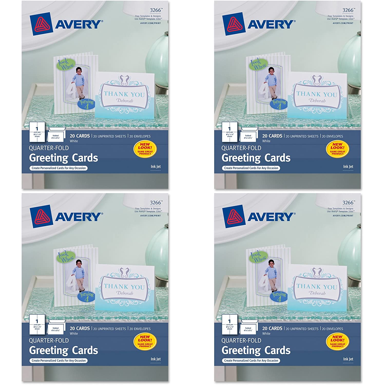Amazon avery quarter fold greeting cards for inkjet printers amazon avery quarter fold greeting cards for inkjet printers 425 x 55 inches white pack of 20 3266 blank greeting cards office products m4hsunfo
