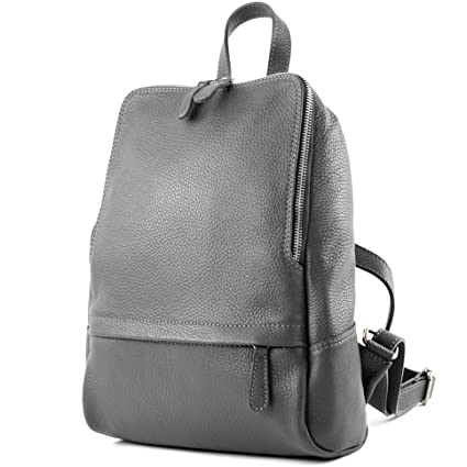8261e3b7a1767 modamoda de - Made in Italy Ital. Leather Backpack Ladies Rucksack Bag  Citybag T138