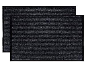 """Fasmov Indoor Outdoor Entrance Rug Floor Mats Shoe Scraper Doormat,17.7"""" x 31.5""""- 2 Pack (Gray)"""