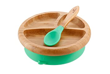 Avanchy Baby Feeding Bamboo Spill Proof Stay Put Suction Divided Plate + Baby Spoon - Great  sc 1 st  Amazon.com & Amazon.com : Avanchy Baby Feeding Bamboo Spill Proof Stay Put ...