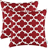 Pack of 2 CaliTime Throw Pillow Covers Cases for Couch Sofa Home Decor, Modern Quatrefoil Accent Geometric, 18 X 18 Inches, Burgundy