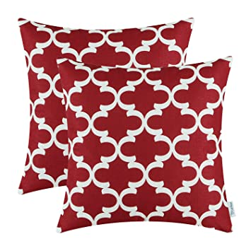 Pack Of 2 CaliTime Throw Pillow Covers Cases For Couch Sofa Home Decor,  Modern Quatrefoil