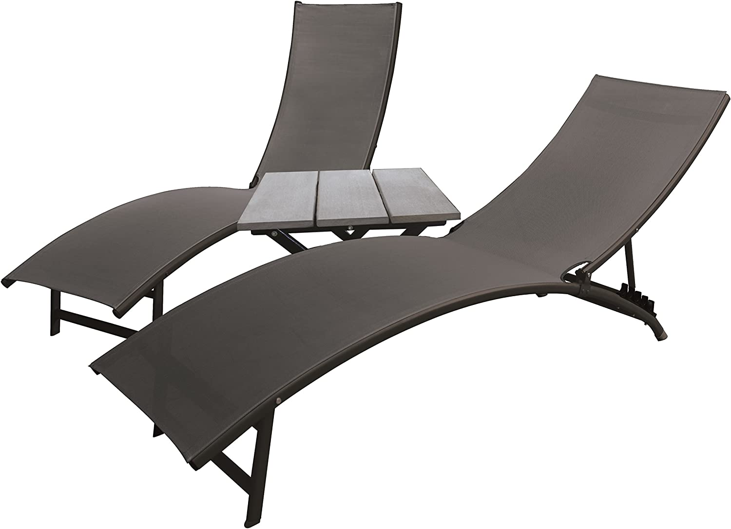 Vivere Midtown Lounger 3 Piece Aluminum Set, Black Chrome
