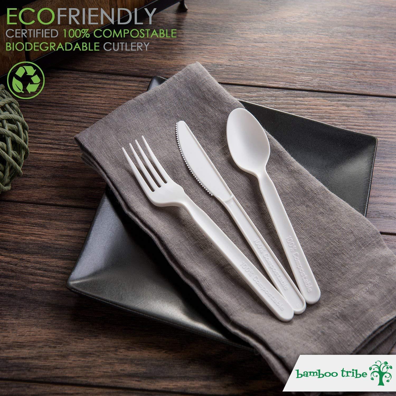 Festa forchette Barbecue Ecologico /& riciclabile Picnic bambootribe Set di Posate monouso 100/% biodegradabile cucchiai /& Coltelli compostables e Vassoio 150/pi/èces-ustensiles di 18/cm