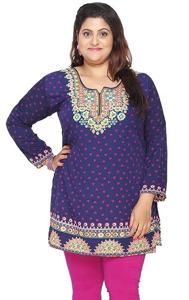 6f1628e2b61dd Amazon.com  Maple Clothing Women s Plus Size Indian Kurtis Tunic Top  Printed India Clothing  Clothing