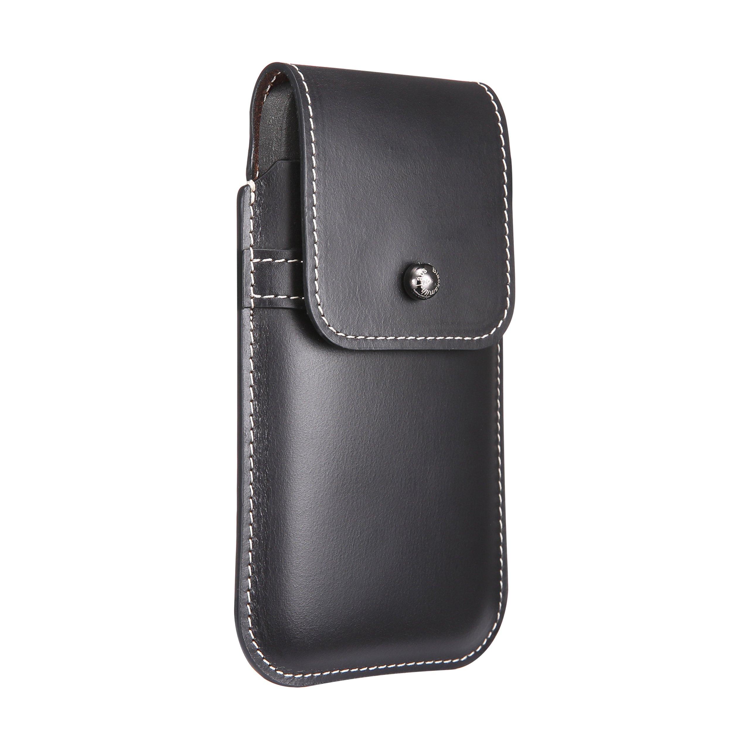 Blacksmith-Labs Barrett Mezzano 2017 Premium Oversized Genuine Leather Swivel Belt Clip Holster for Apple iPhone X/Xs for use w Apple Leather Case - Horween Chromexcel Lapis Blue, Gunmetal Belt Clip
