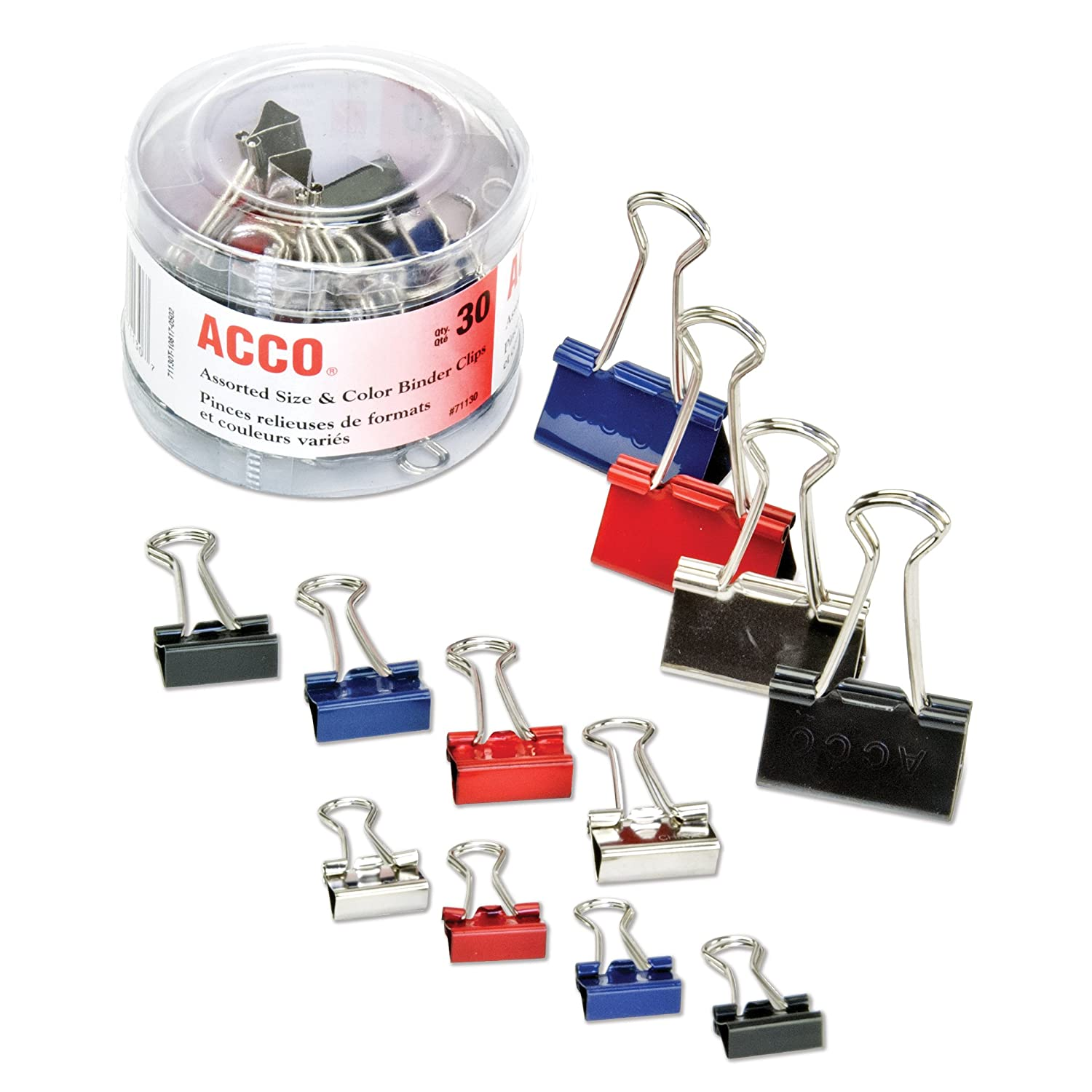 Binder Clips in Soft Tub, Assorted Sizes, Colors, Sold as 1 Package ACCO Brands Corporation A7071130