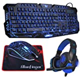 BlueFinger LED Gaming Over-Ear Headset Headphone,Backlit Gaming Keyboard Mouse Combo Set USB Wired With 40mm Speaker Driver and Gaming Mouse Pad