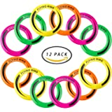 """[12 Pack] 10"""" Outdoor Flying Rings, Plastic Disc Toss Game Toy for Kids and Adults (4 Colors)"""