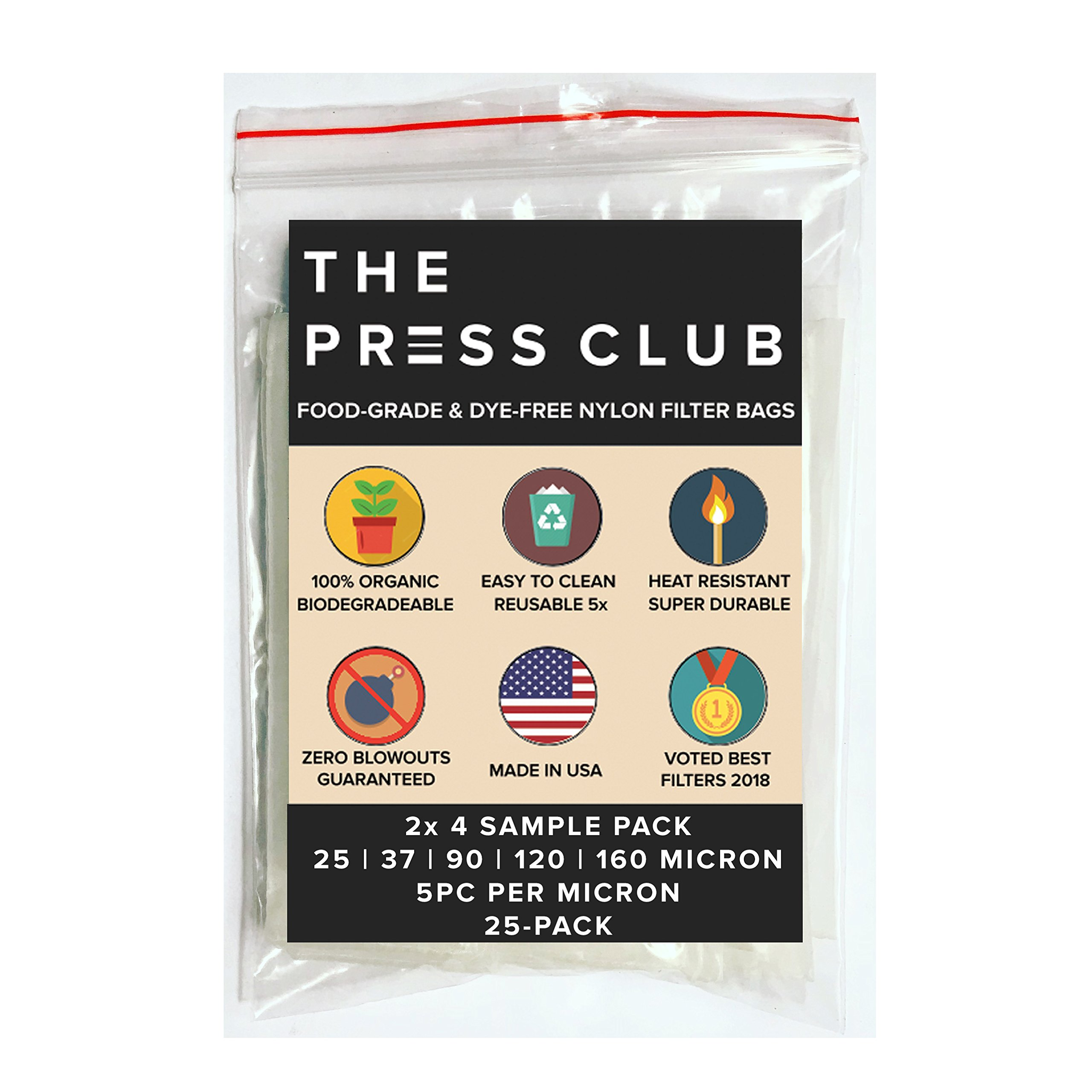 All Micron Sample Pack | Premium Nylon Rosin Press Screen Tea Filter Bags | 2'' x 4'' | 25 Pack | Zero Blowout Guarantee | All Micron & Sizes Available
