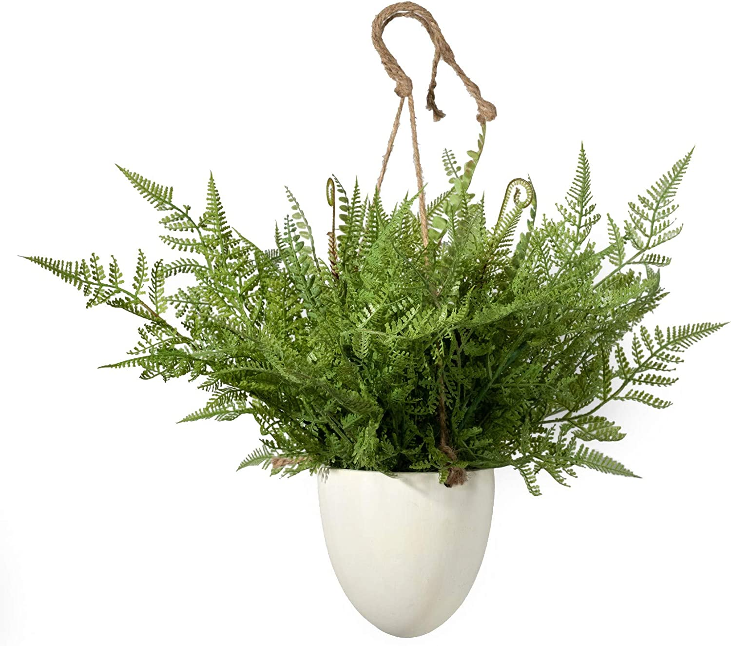 Serene Spaces Living Large Boston Fern in Hanging Pot, Fake Hanging Plant, Life Like Plants for Indoor Outdoor Garden Wedding Party Table Decor, Measures 12