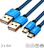 Cable USB de Paxo 4 m 2 x USB auf Micro USB Kabel, schwarz-blau