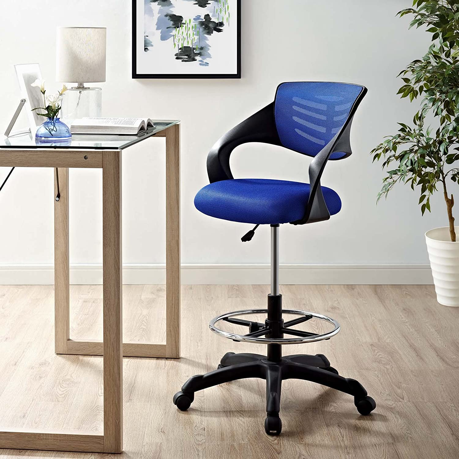 Amazon Com Modway Thrive Drafting Chair Tall Office Chair For Adjustable Standing Desks In Blue Furniture Decor