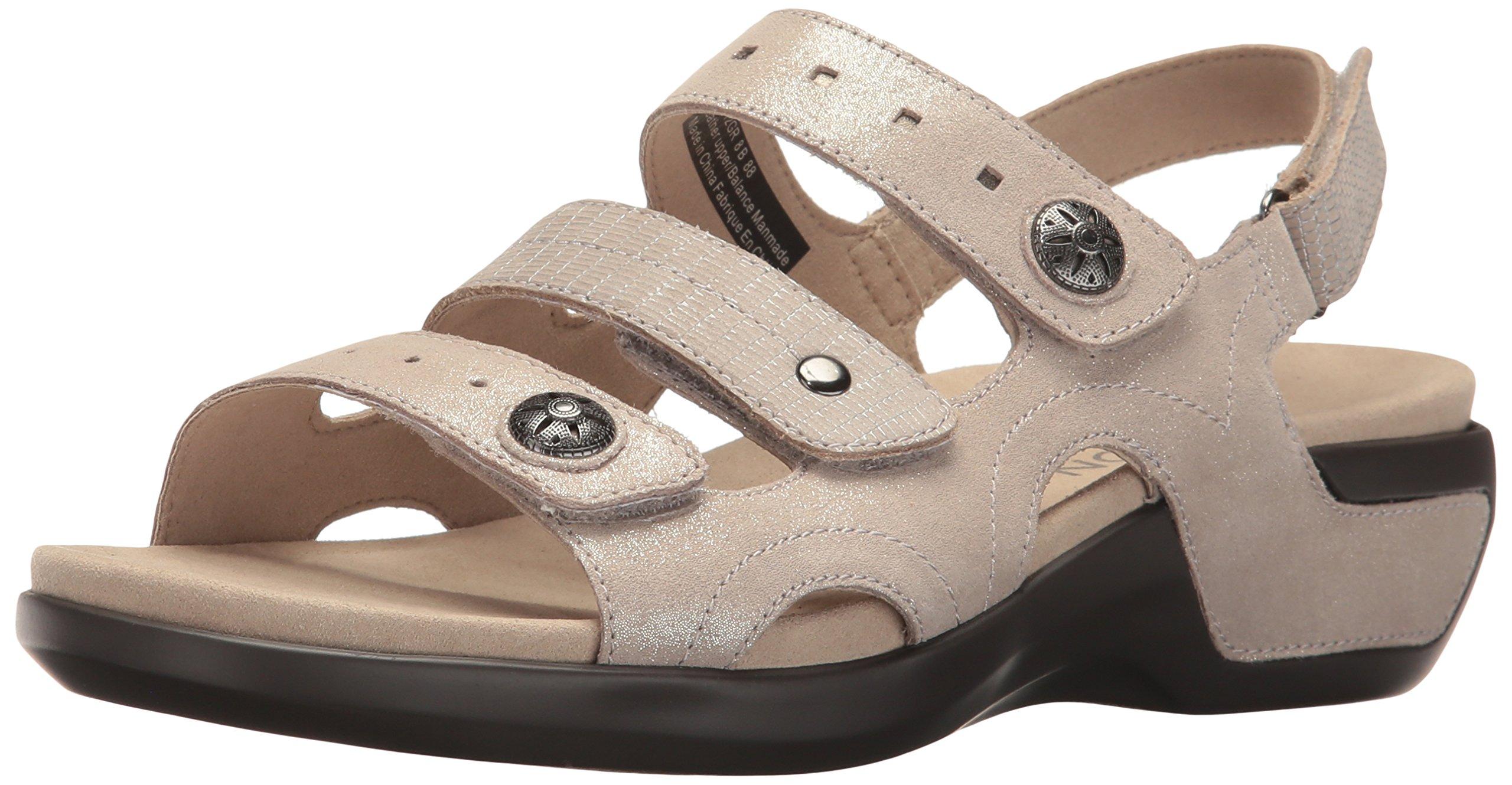Aravon Women's Power Comfort Three Strap Heeled Sandal, Metallic Sand, 8 D US
