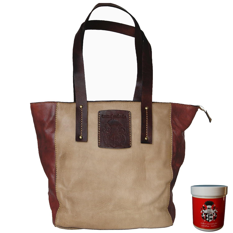茶色の革で作られたMALTZAHN Ladieの買い物袋TOKYOのBARON。レザーケア   B00VQPHQHS