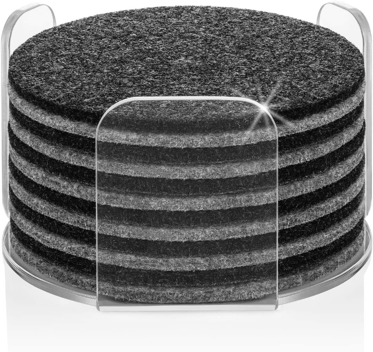 6 Absorbent Felt Coasters With Holder Funny Coasters For Drinks Set of 8 Perfect Housewarming Gift Idea 2 Car Coasters Premium Package Protects Furniture Hexagon, Charcoal Design Hexa