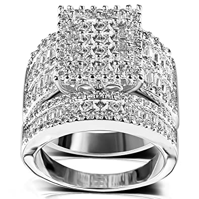 Amazon Com Square Cubic Zirconia Bridal Set Princess Cut Cz