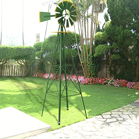 Perfect 8Ft Tall Windmill Ornamental Wind Wheel Green And Yellow Garden Weather Vane