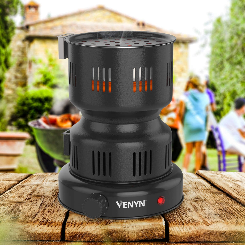 VENYN Multipurpose Charcoal Burner with Starter for Hookah Includes Pair of Free Tongs    Best Choice Porcelain Coating Smart Heat Control BBQ Fire Shisha Nargila