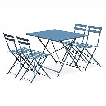 Salon de Jardin bistrot Pliable - Emilia rectangulaire Bleu grisé - Table  110x70cm avec Quatre chaises Pliantes, Acier thermolaqué