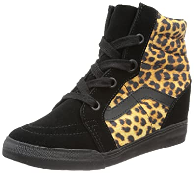 42eca8717a Vans Unisex - Adult U SK8-HI Wedge (Leopard) Black Trainers Black ...