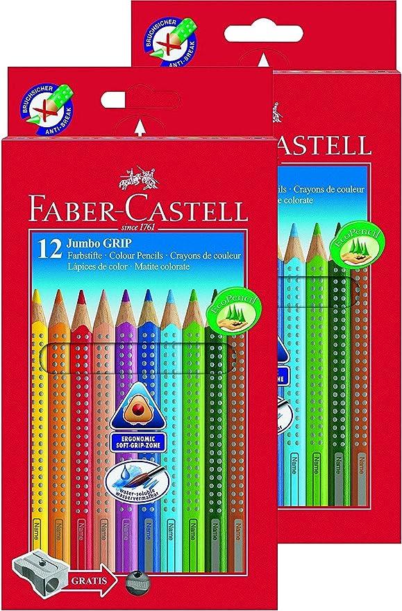 Faber-Castell Bundle 110912 lápices de jumbo grip 12 estuche de cartón; incluye sacapuntas y FABER-CASTELL 110994 – Estuche de lápices de colores JUMBO GRIP Neon, 5, varios colores: Amazon.es: Jardín