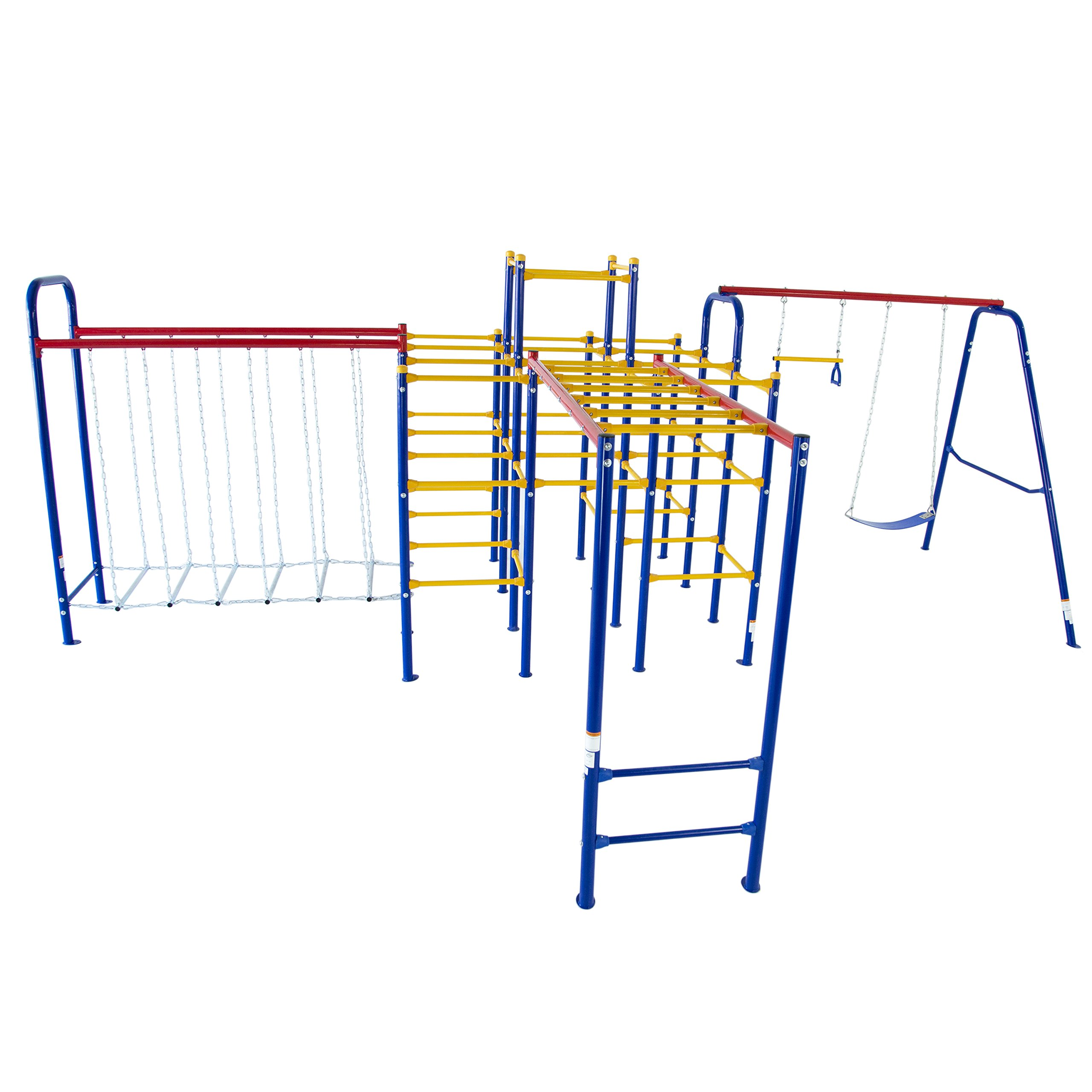 Skywalker Sports Jungle Gym Combo Complete with Jungle Gym/Swing Set/Hanging Bridge and Monkey Bars by Skywalker Sports