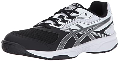 ASICS Women's Upcourt 2 Volleyball Shoe, Black/Silver/White, 10 Medium US
