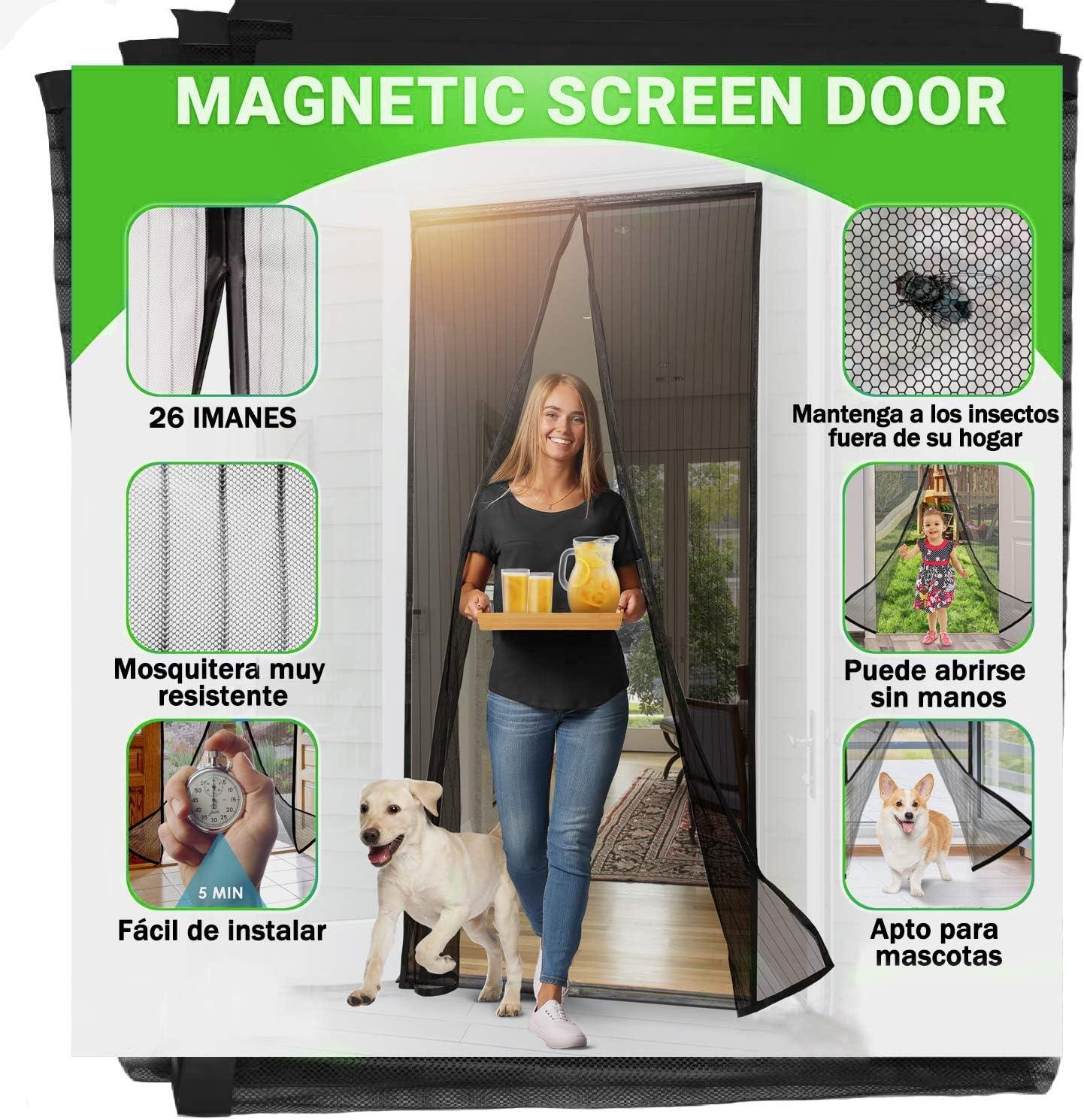 Jellas Mosquitera Magnética - Se Adapta a Puertas de hasta 90 x 210CM, Totalmente Magnética, se Cierra Sola, Evita que los Insectos Entren - Para Puertas Cortina de Sala de Estar