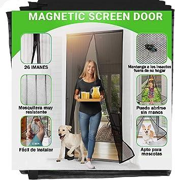 Jellas Mosquitera Magnética, 90 x 210CM Se Adapta a Puertas de hasta, Totalmente Magnética se Cierra Sola, Evita que los Insectos Entren - Para Puertas Cortina de Sala de Estar: Amazon.es: Bricolaje