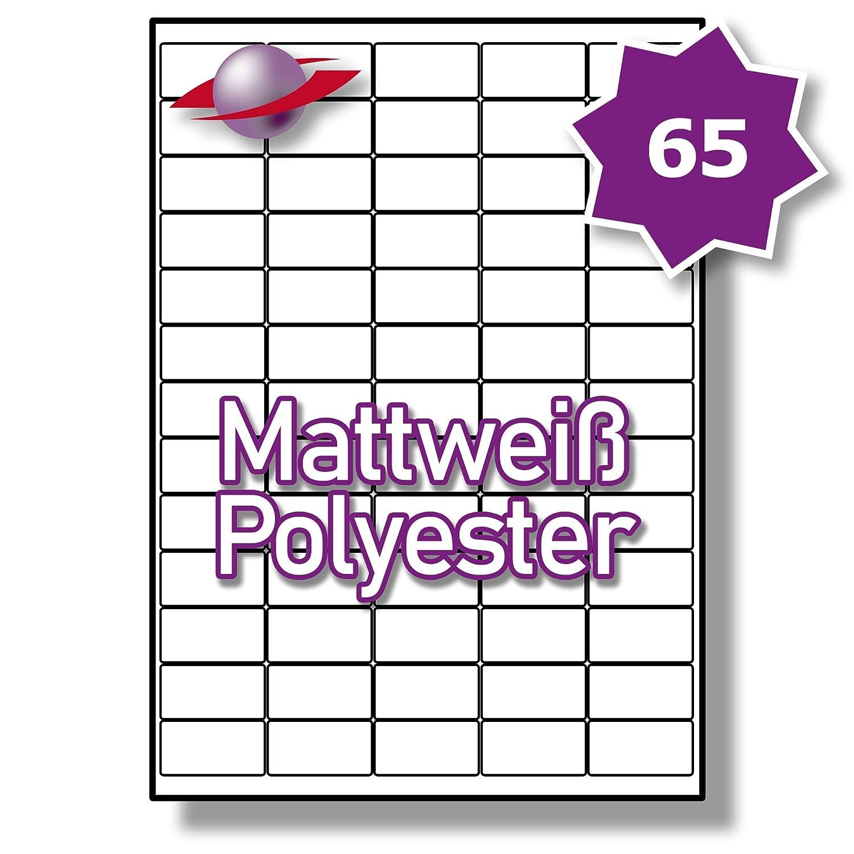 65 Pro Blatt, 250 Blätter, 16250 Etiketten. Label Planet® A4 Matt Weiß Polyester Etiketten Für Laserdrucker 38.1 x 21.2mm, LP65 38 MWP.