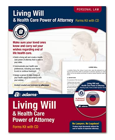 Amazon adams living will and power of attorney for adams living will and power of attorney for healthcare kit forms and instructions includes solutioingenieria Images
