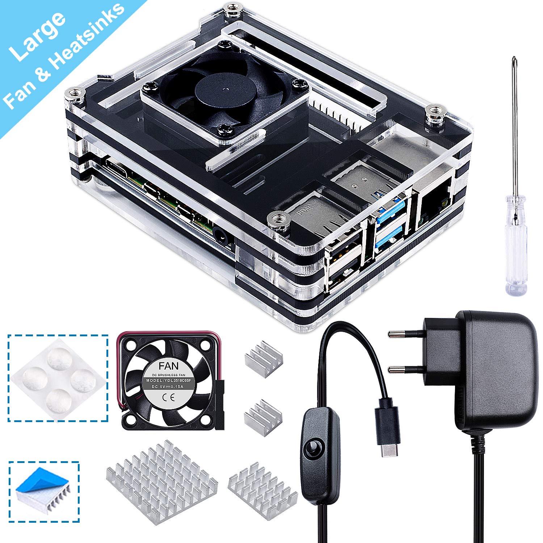 -Nero e Chiaro Case con 5V 3A USB-C Alimentatore 35mm Dissipatore,4PCS Ventola Compatibile con Raspberry Pi 4 Model B Ventilatore Grande e Dissipatore Grande Smraza Case per Raspberry Pi 4